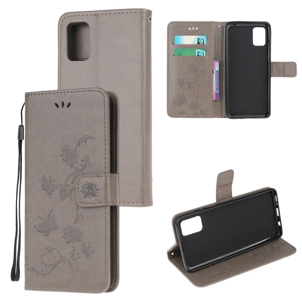Läderfodral Fjärilar Samsung Galaxy A41 grå