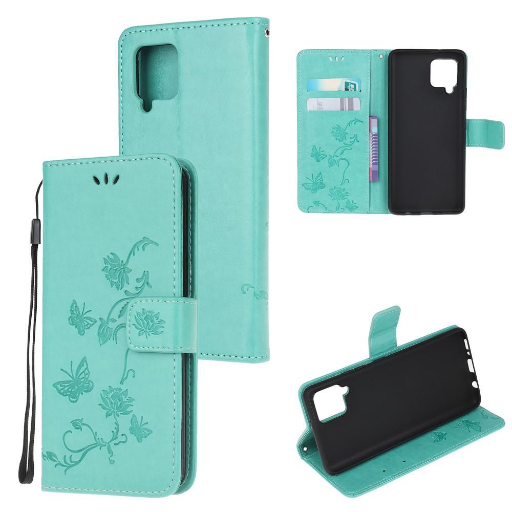 Läderfodral Fjärilar Samsung Galaxy A42 5G grön
