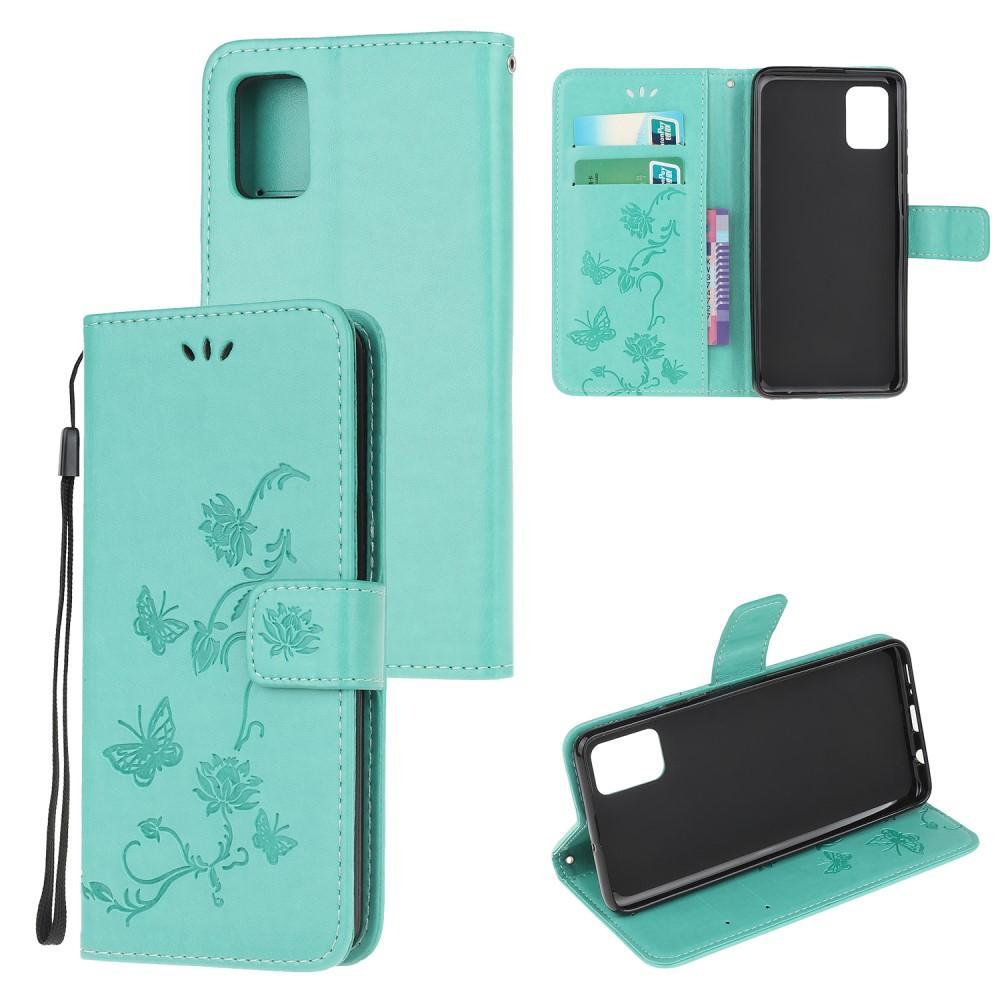 Läderfodral Fjärilar Samsung Galaxy A52 5G grön