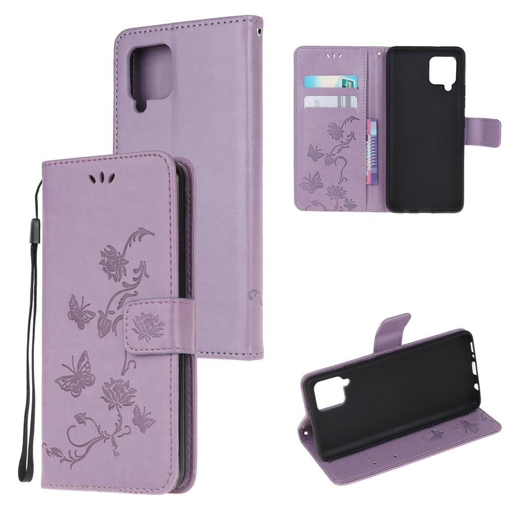 Läderfodral Fjärilar Samsung Galaxy A42 5G lila