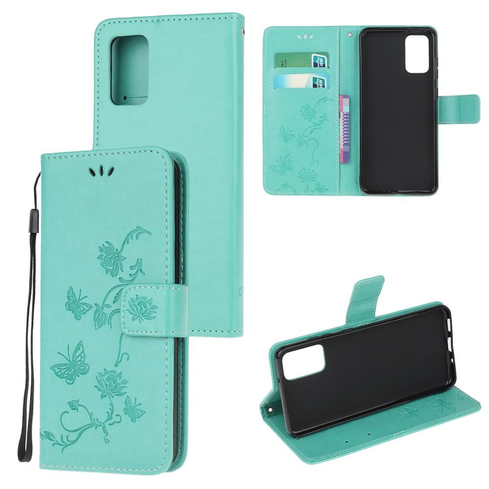 Läderfodral Fjärilar Samsung Galaxy S20 FE grön