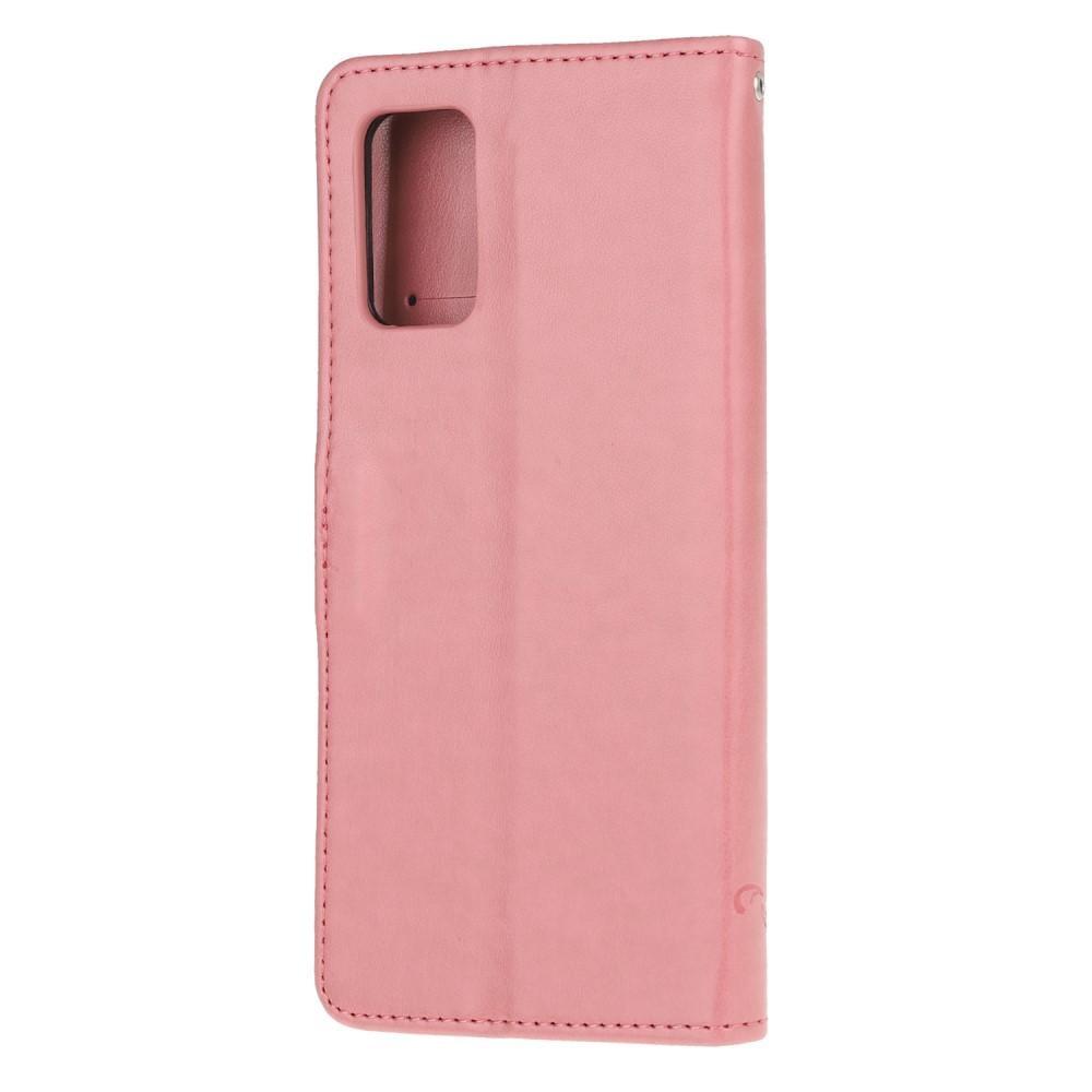 Läderfodral Fjärilar Samsung Galaxy S20 FE rosa