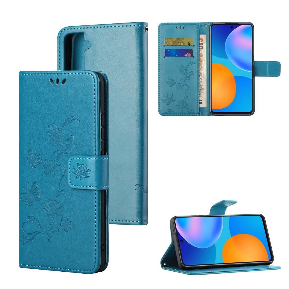 Läderfodral Fjärilar Samsung Galaxy S21 blå
