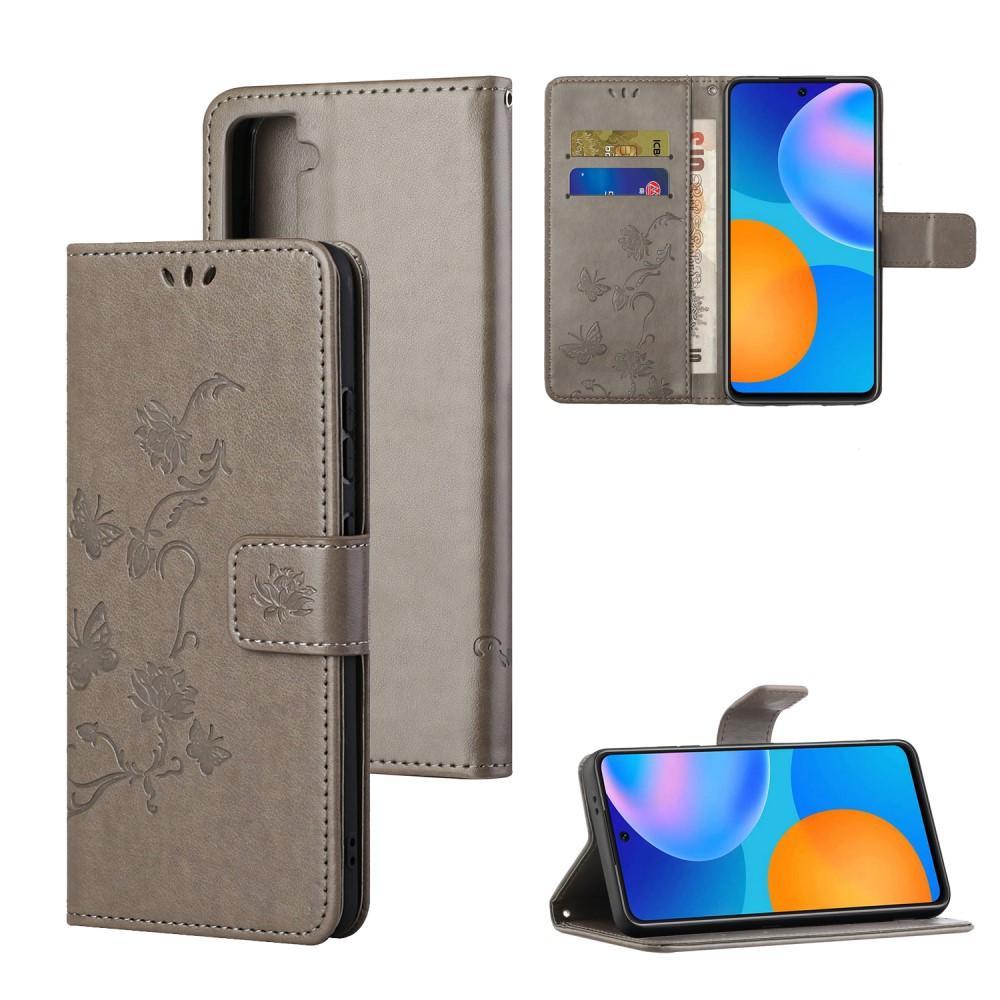 Läderfodral Fjärilar Samsung Galaxy S21 grå