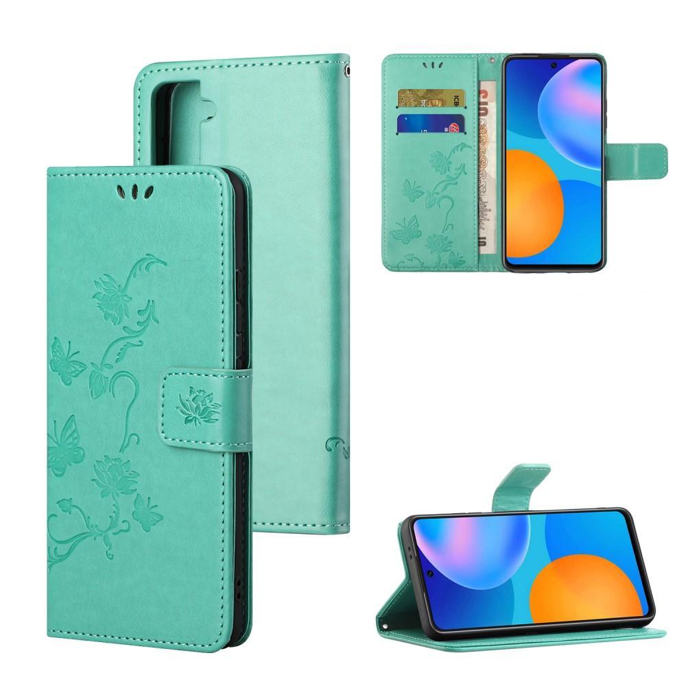 Läderfodral Fjärilar Samsung Galaxy S21 grön