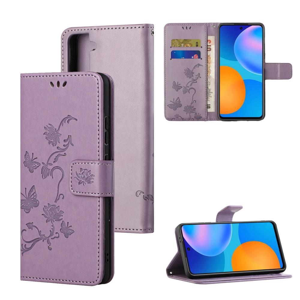 Läderfodral Fjärilar Samsung Galaxy S21 Plus lila