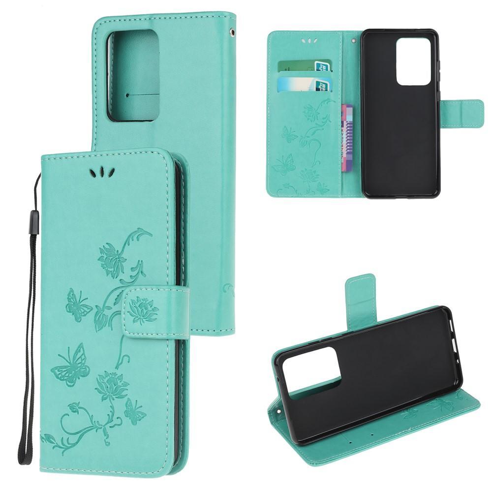 Läderfodral Fjärilar Samsung Galaxy S21 Ultra grön