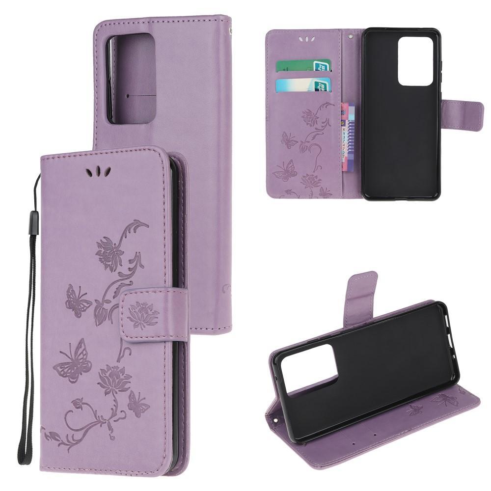 Läderfodral Fjärilar Samsung Galaxy S21 Ultra lila