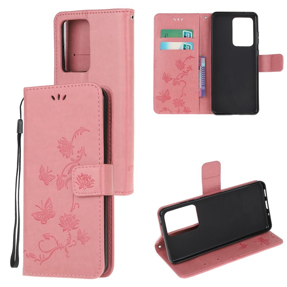 Läderfodral Fjärilar Samsung Galaxy S21 Ultra rosa