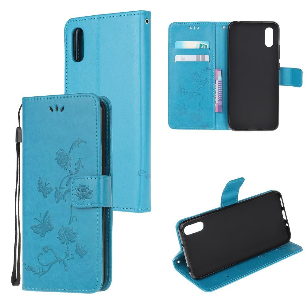 Läderfodral Fjärilar Samsung Galaxy Xcover 5 blå