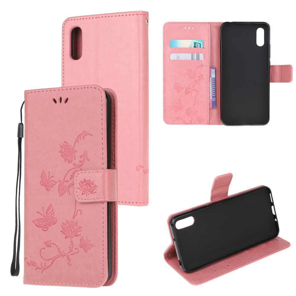 Läderfodral Fjärilar Samsung Galaxy Xcover 5 rosa