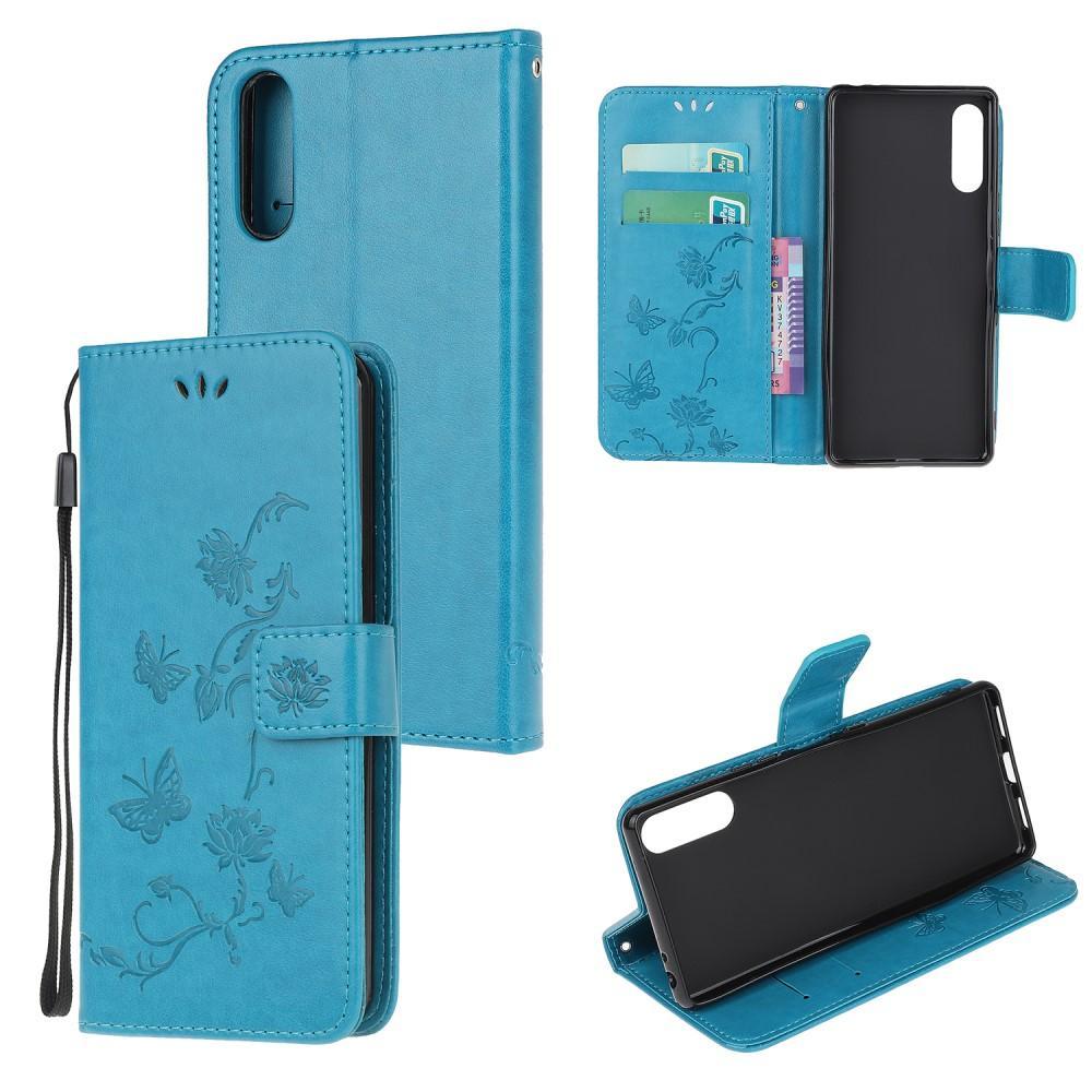 Läderfodral Fjärilar Sony Xperia L4 blå