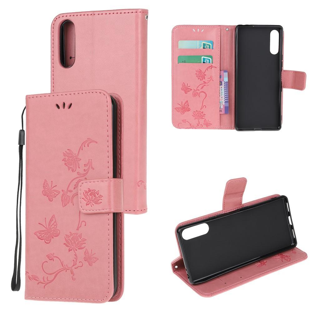 Läderfodral Fjärilar Sony Xperia L4 rosa