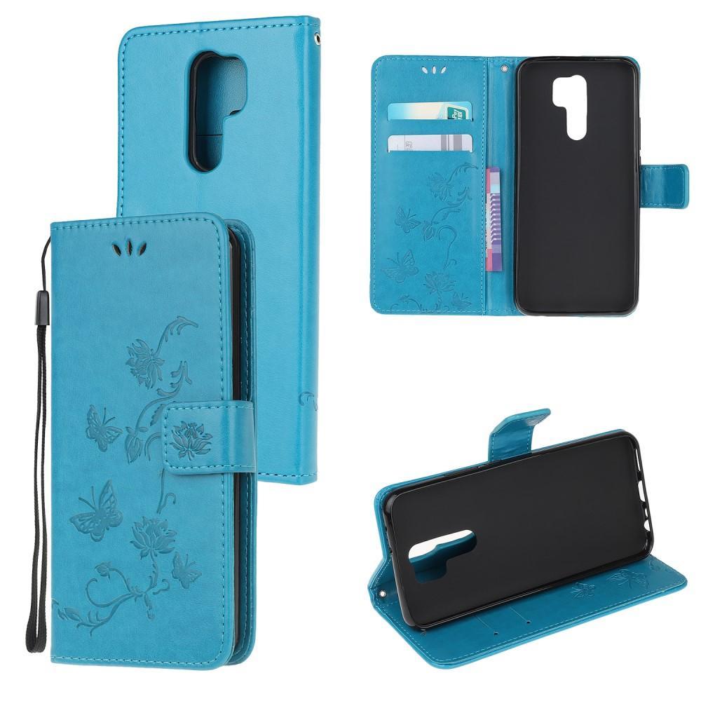 Läderfodral Fjärilar Xiaomi Redmi 9 blå