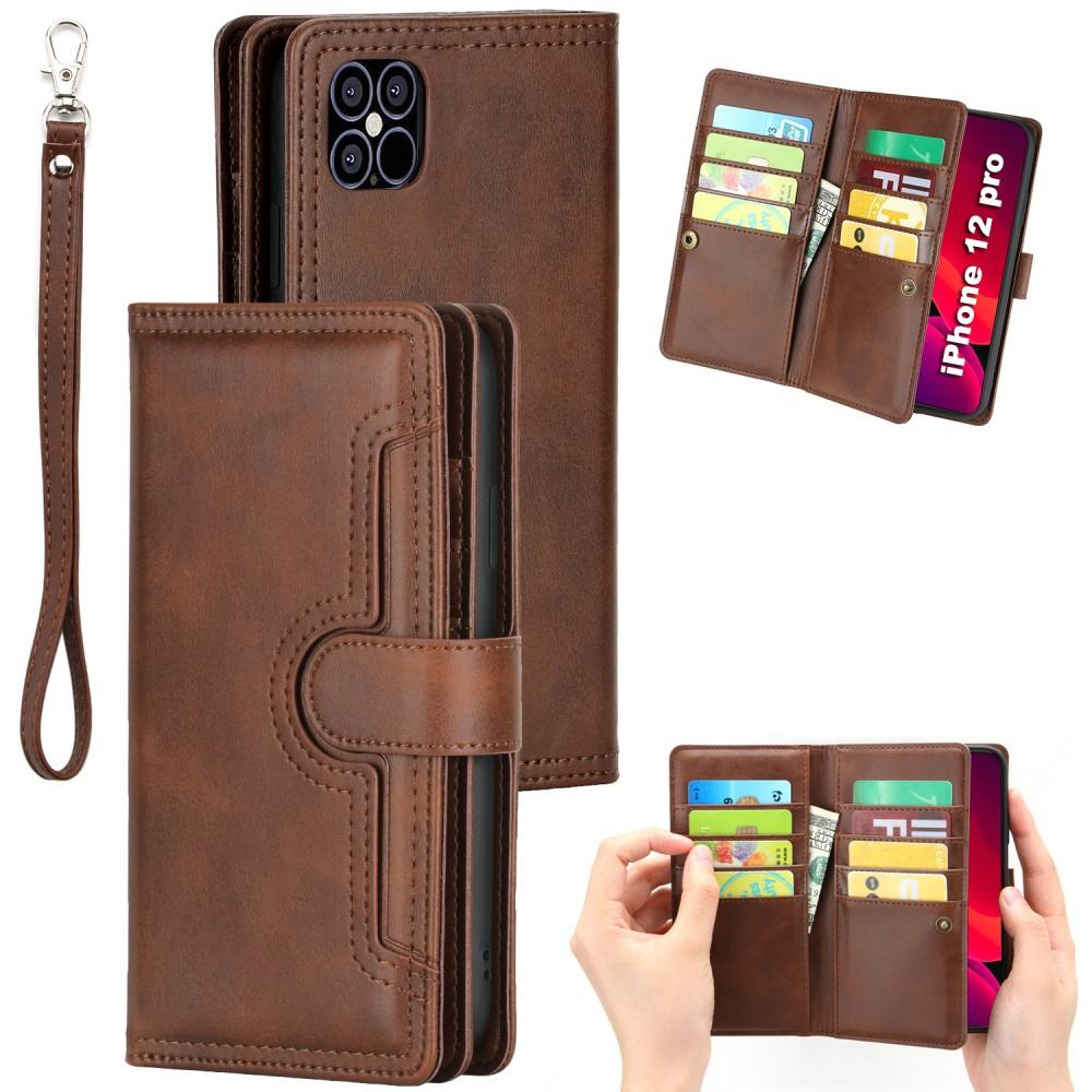Läderplånbok Multi-slot iPhone 12/12 Pro brun