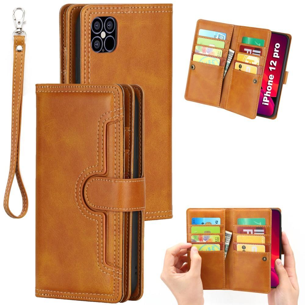Läderplånbok Multi-slot iPhone 12/12 Pro cognac