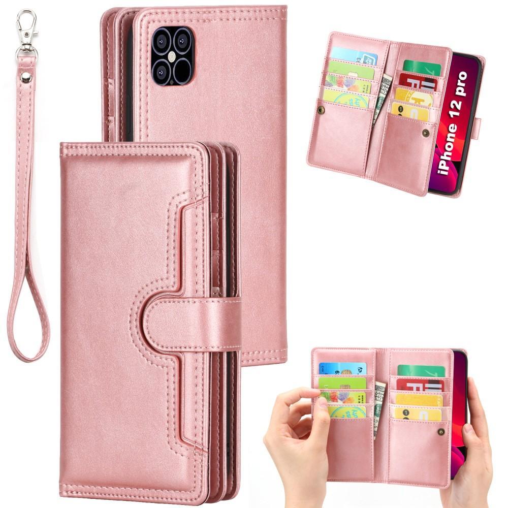 Läderplånbok Multi-slot iPhone 12/12 Pro roséguld