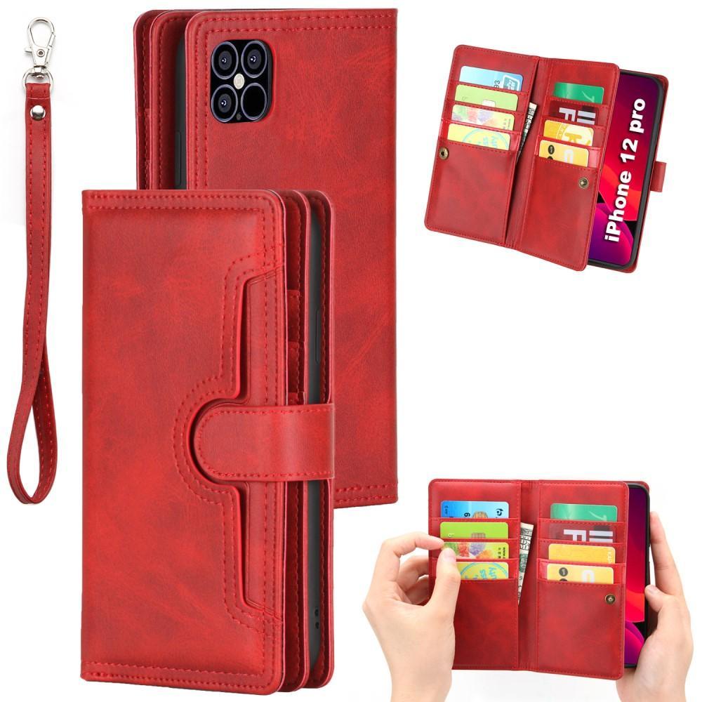 Läderplånbok Multi-slot iPhone 12 Mini röd