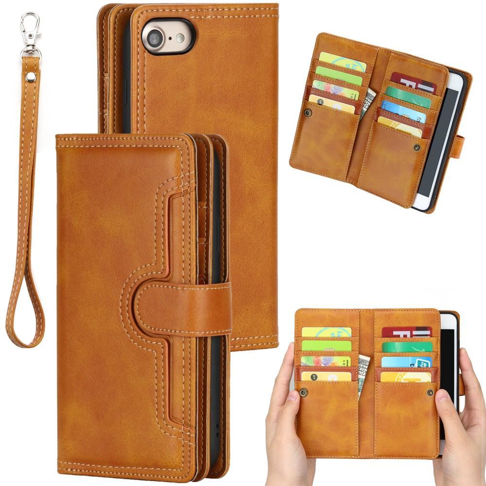 Läderplånbok Multi-slot iPhone 7/8/SE 2020 cognac