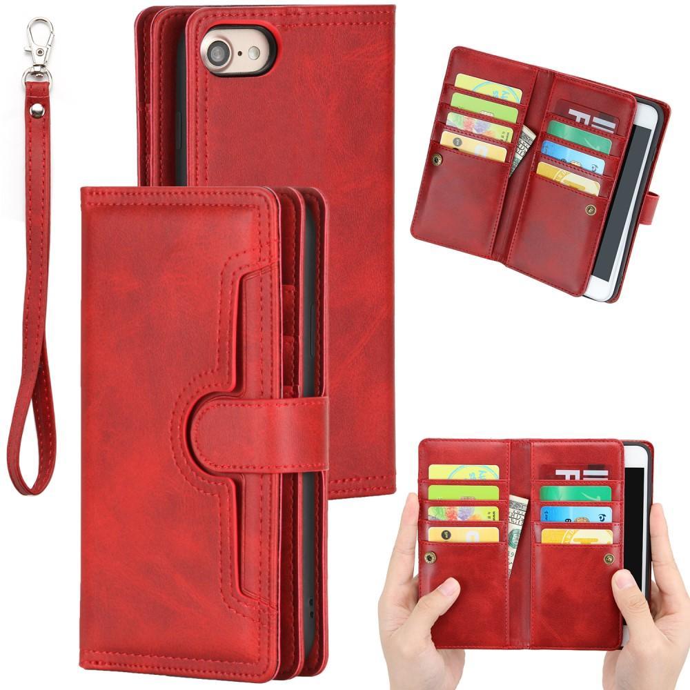 Läderplånbok Multi-slot iPhone 7/8/SE 2020 röd