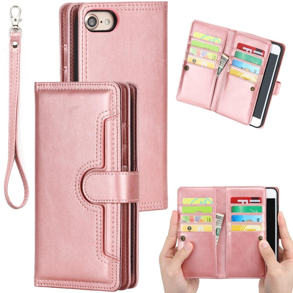 Läderplånbok Multi-slot iPhone 7/8/SE 2020 roséguld