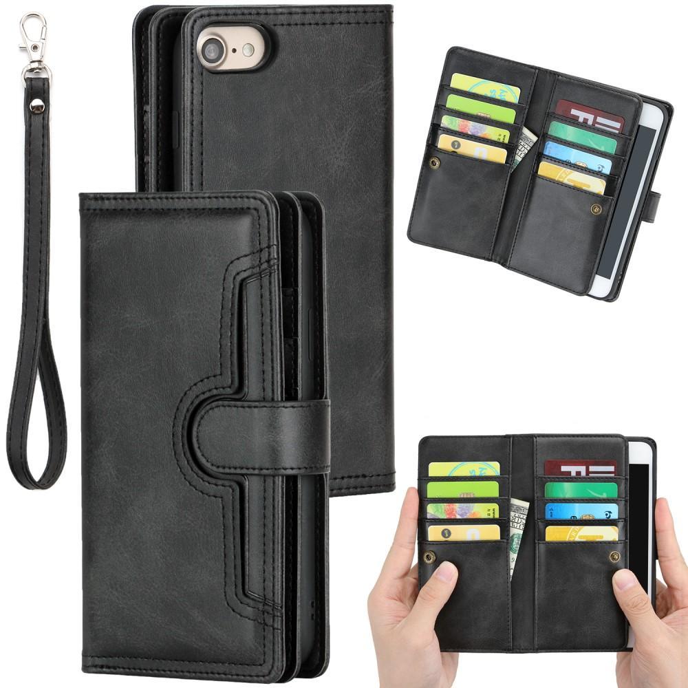 Läderplånbok Multi-slot iPhone 7/8/SE 2020 svart