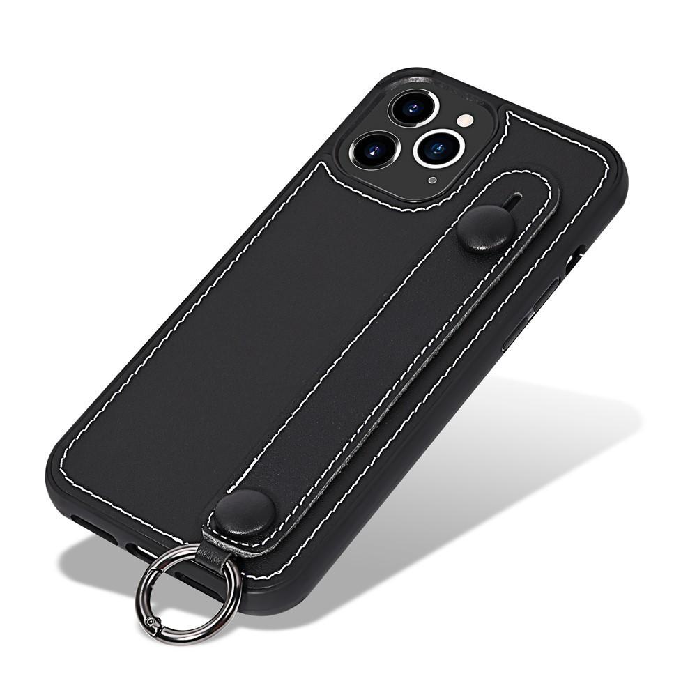 Läderskal med handstrap iPhone 12 Pro Max Svart
