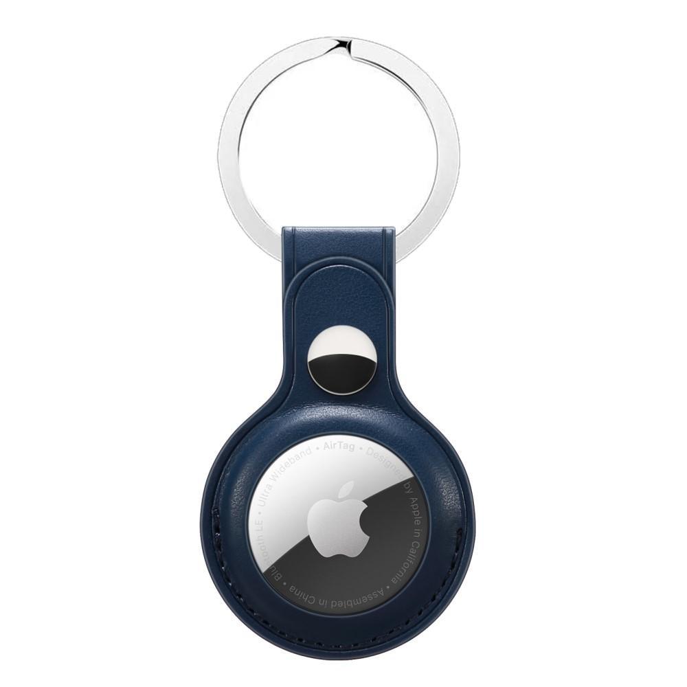 Läderskal med nyckelring Apple AirTag blå