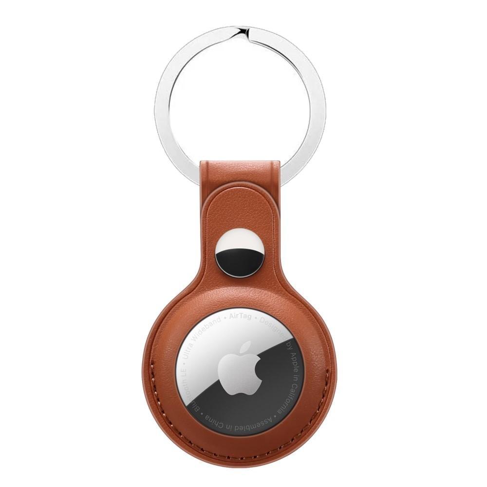Läderskal med nyckelring Apple AirTag brun
