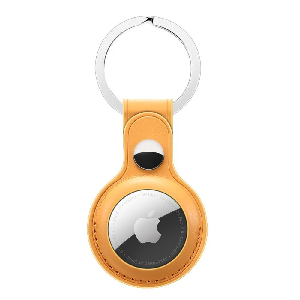 Läderskal med nyckelring Apple AirTag gul