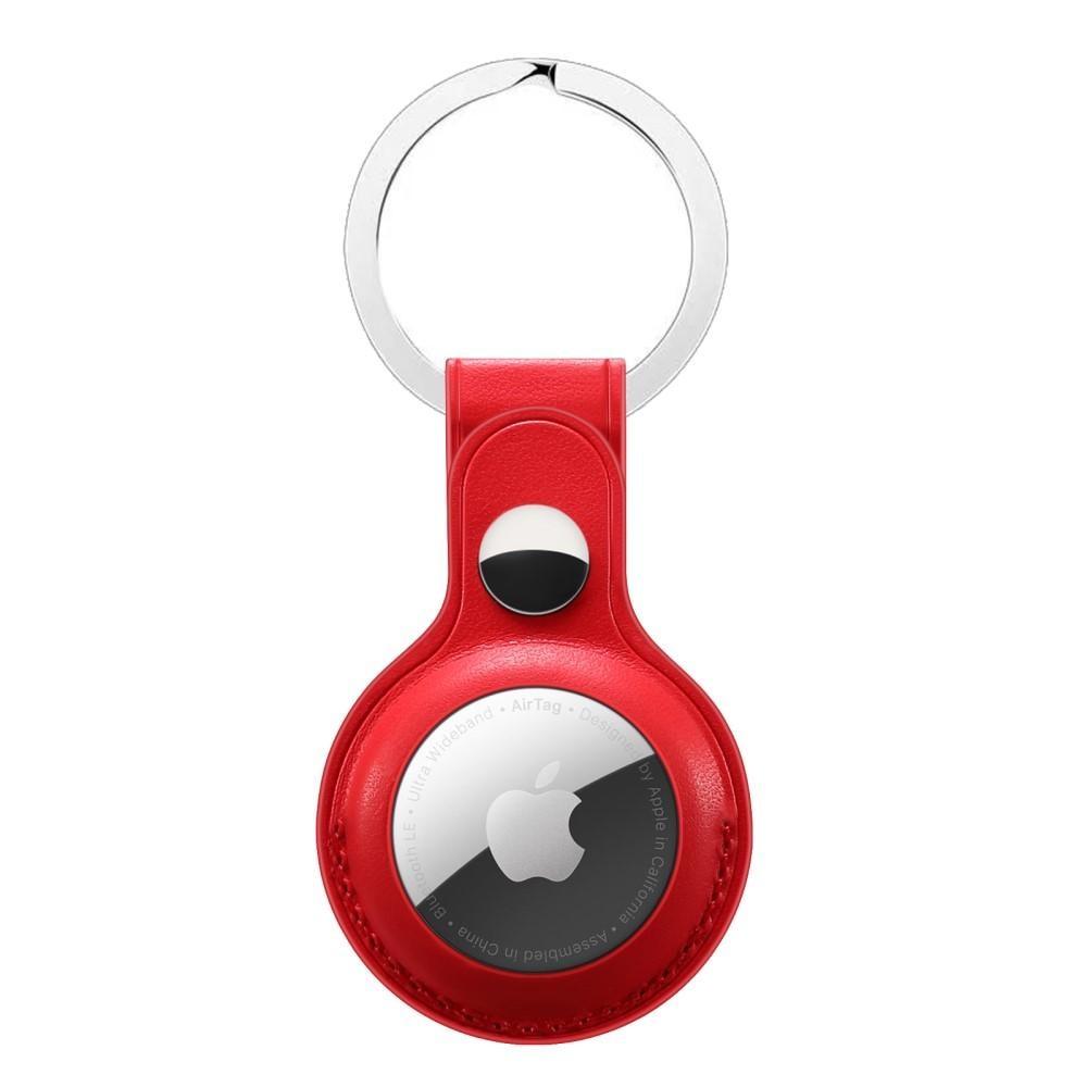 Läderskal med nyckelring Apple AirTag röd