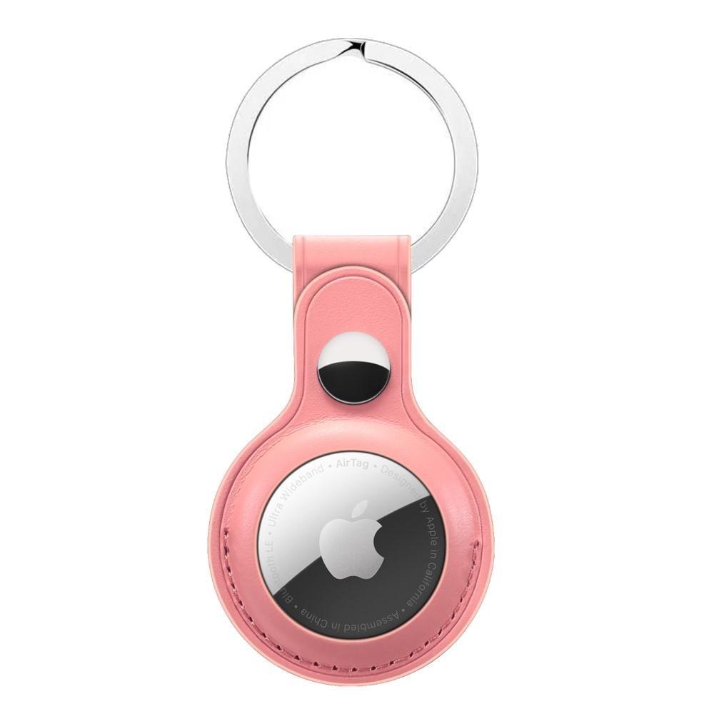 Läderskal med nyckelring Apple AirTag rosa