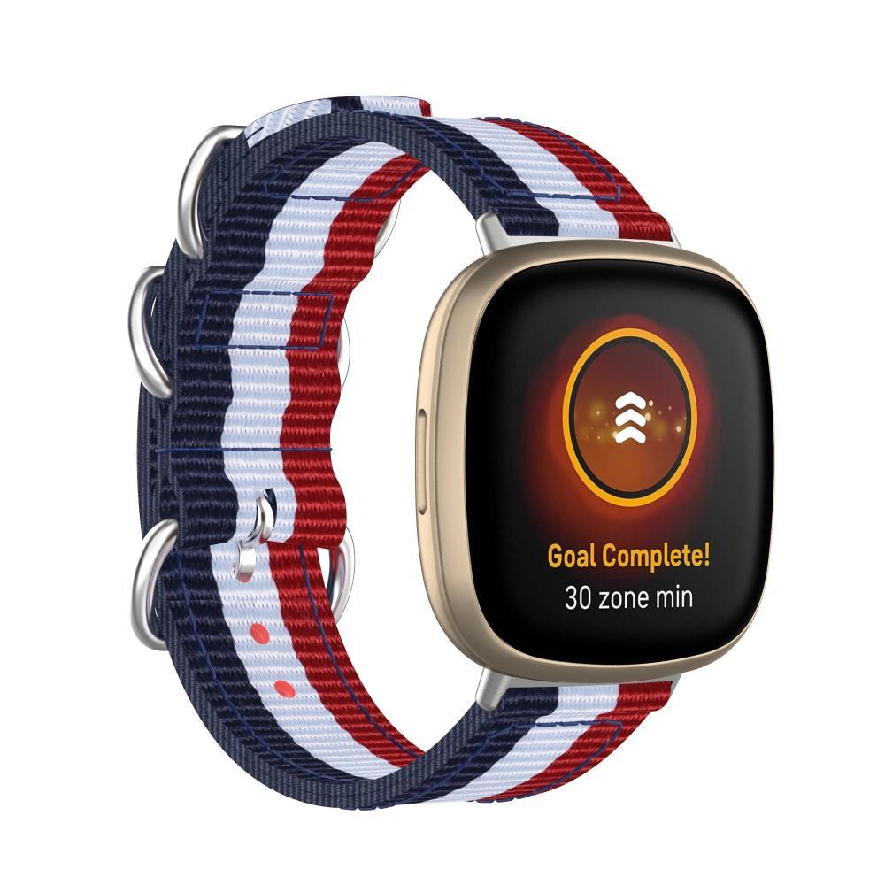 Natoarmband Fitbit Versa 3/Sense blå/vit/röd
