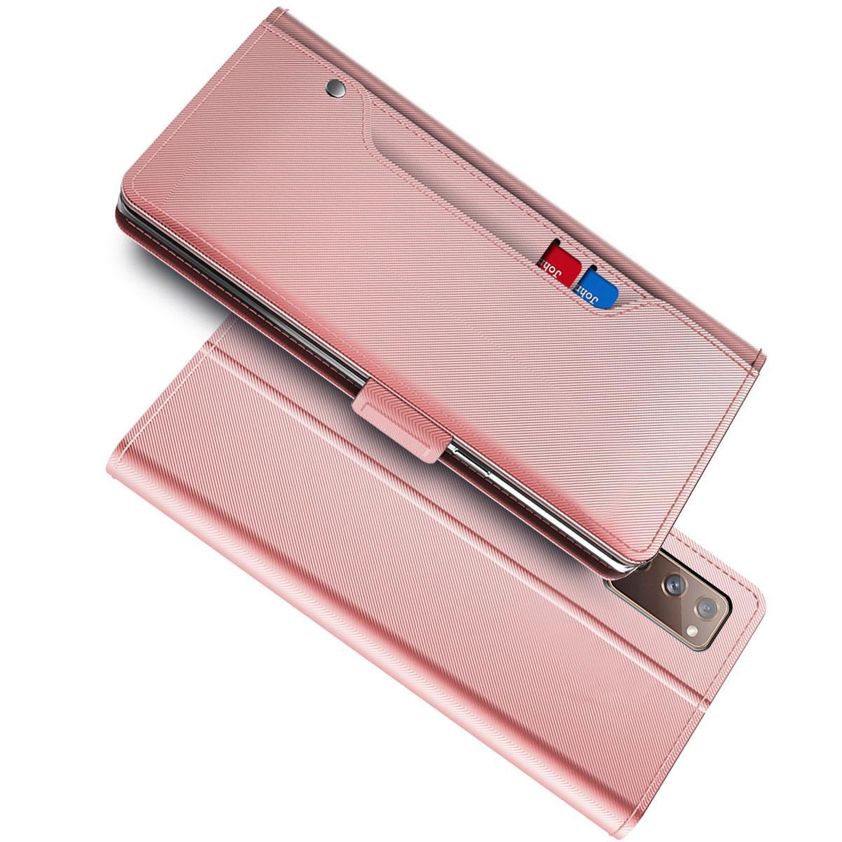 Plånboksfodral Spegel Galaxy A52 5G rosa guld
