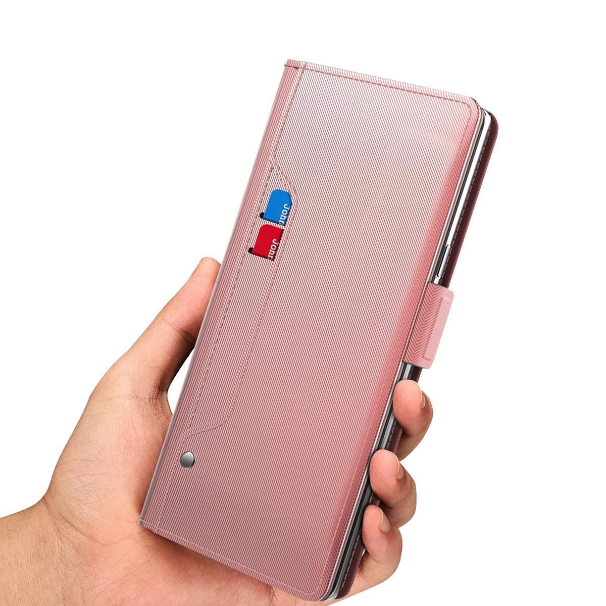 Plånboksfodral Spegel Galaxy Note 20 Ultra Rosa Guld
