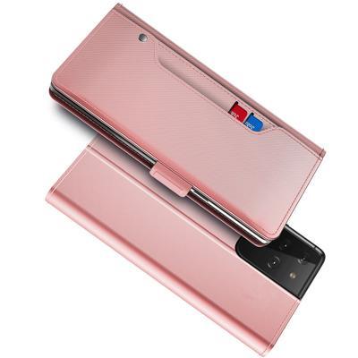 Plånboksfodral Spegel Galaxy S21 Ultra Rosa Guld