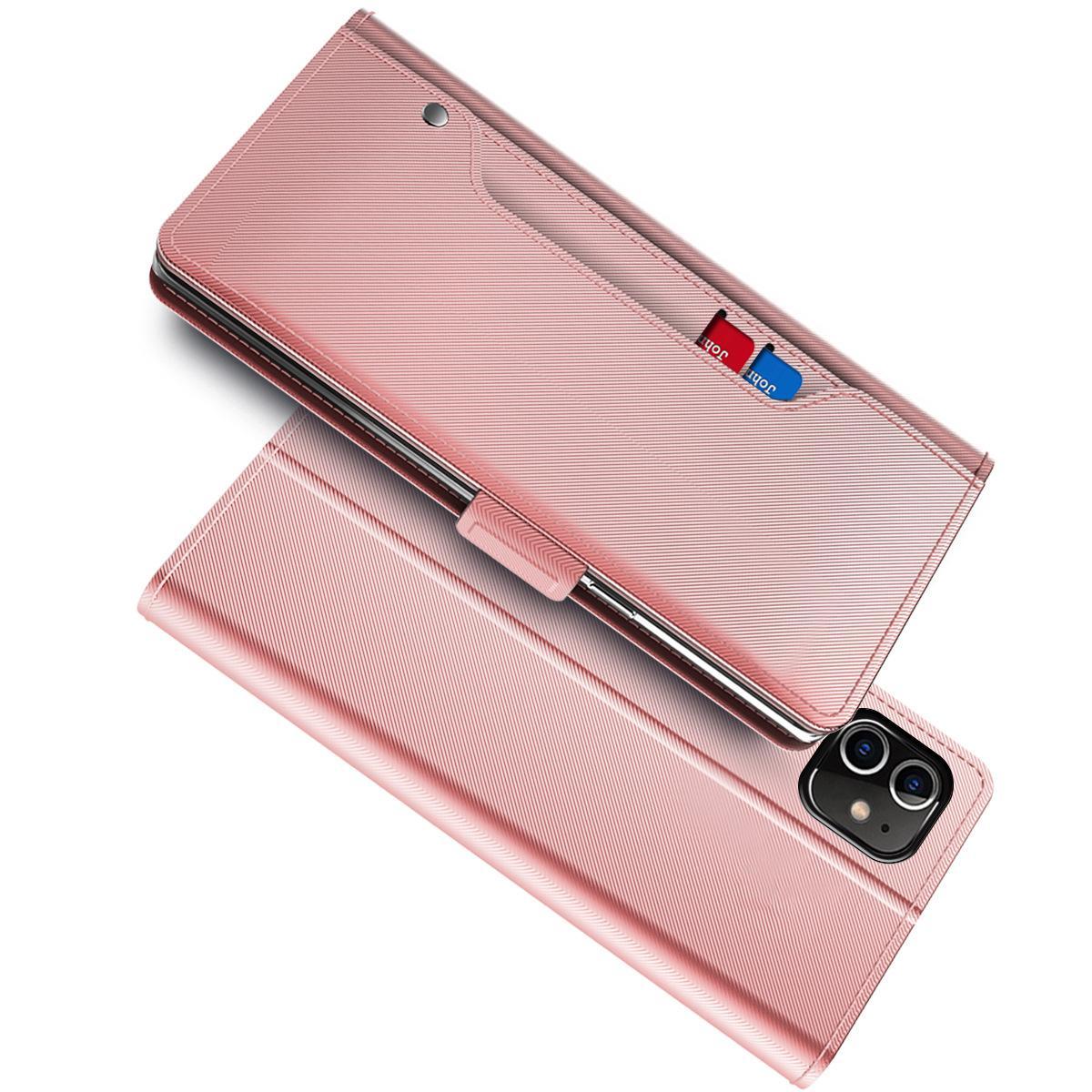 Plånboksfodral Spegel iPhone 12/12 Pro Rosa Guld