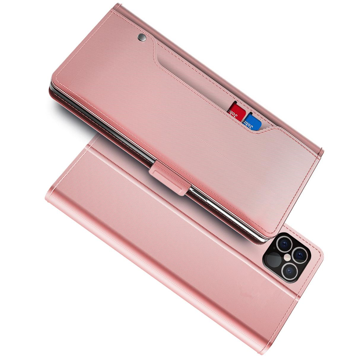 Plånboksfodral Spegel iPhone 12 Pro Max Rosa Guld