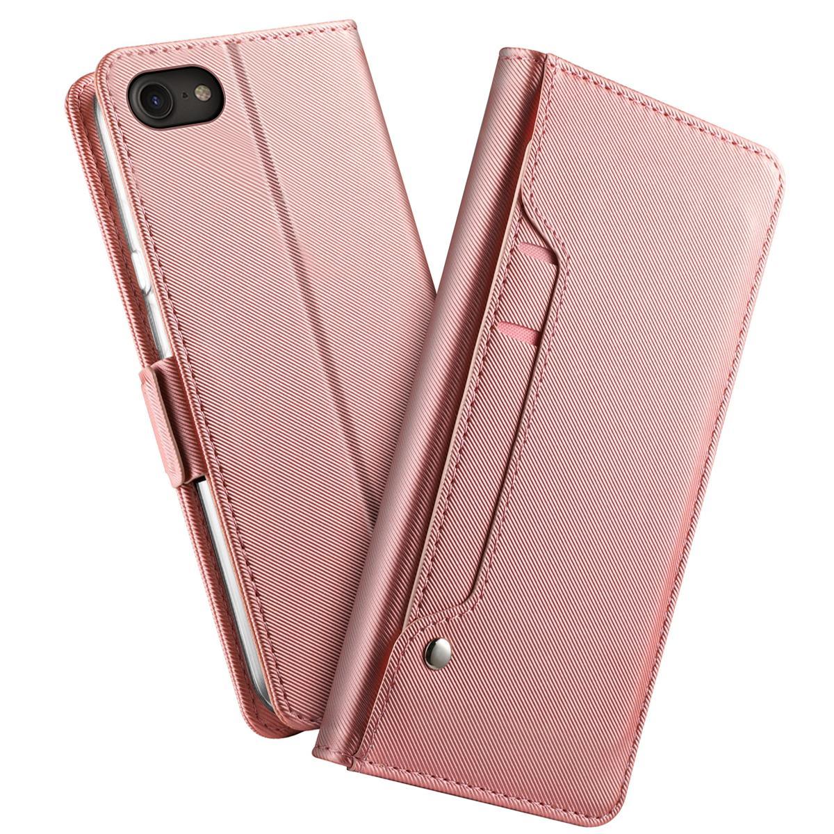 Plånboksfodral Spegel iPhone 7/8/SE 2020 Rosa Guld