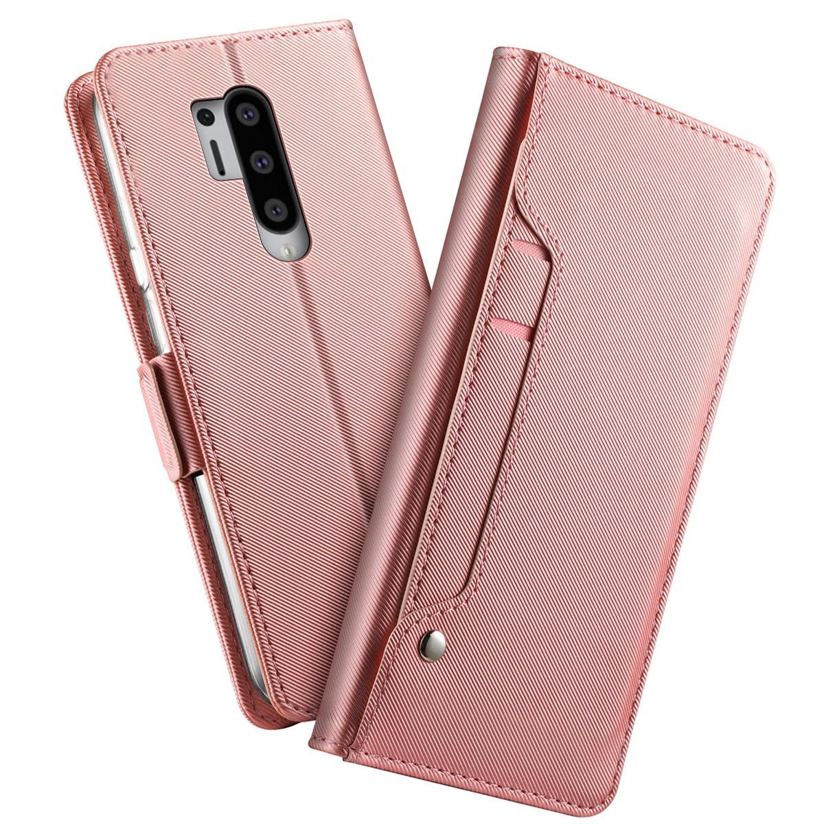 Plånboksfodral Spegel OnePlus 8 Pro Rosa Guld