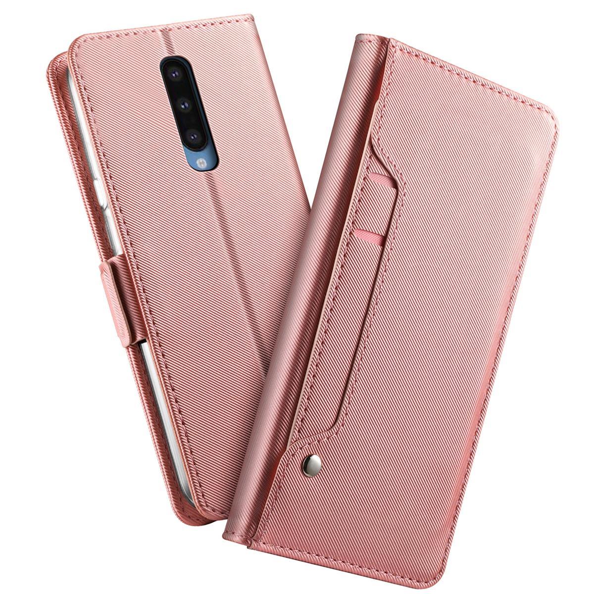 Plånboksfodral Spegel OnePlus 8 Rosa Guld