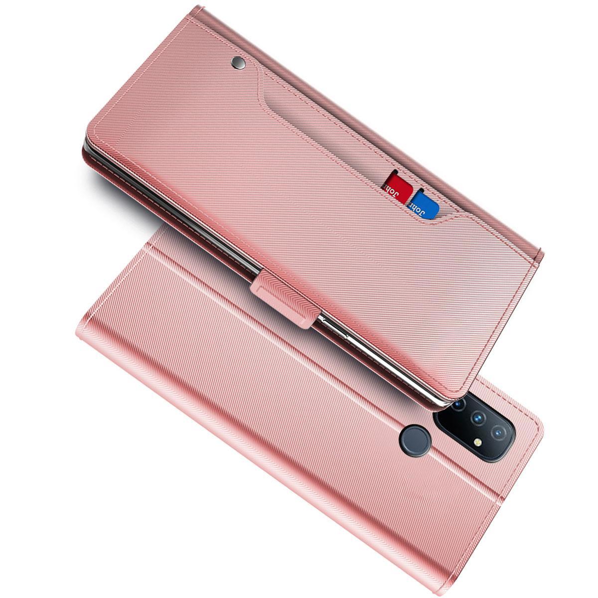 Plånboksfodral Spegel OnePlus Nord N100 Rosa Guld