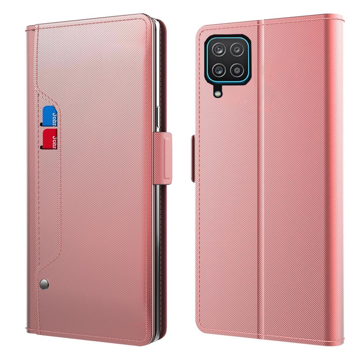 Plånboksfodral Spegel Samsung Galaxy A12 Rosa Guld