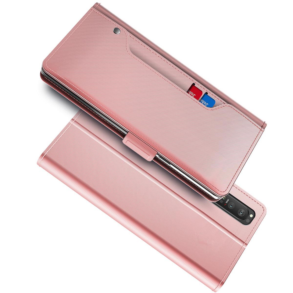 Plånboksfodral Spegel Sony Xperia 1 III rosa guld
