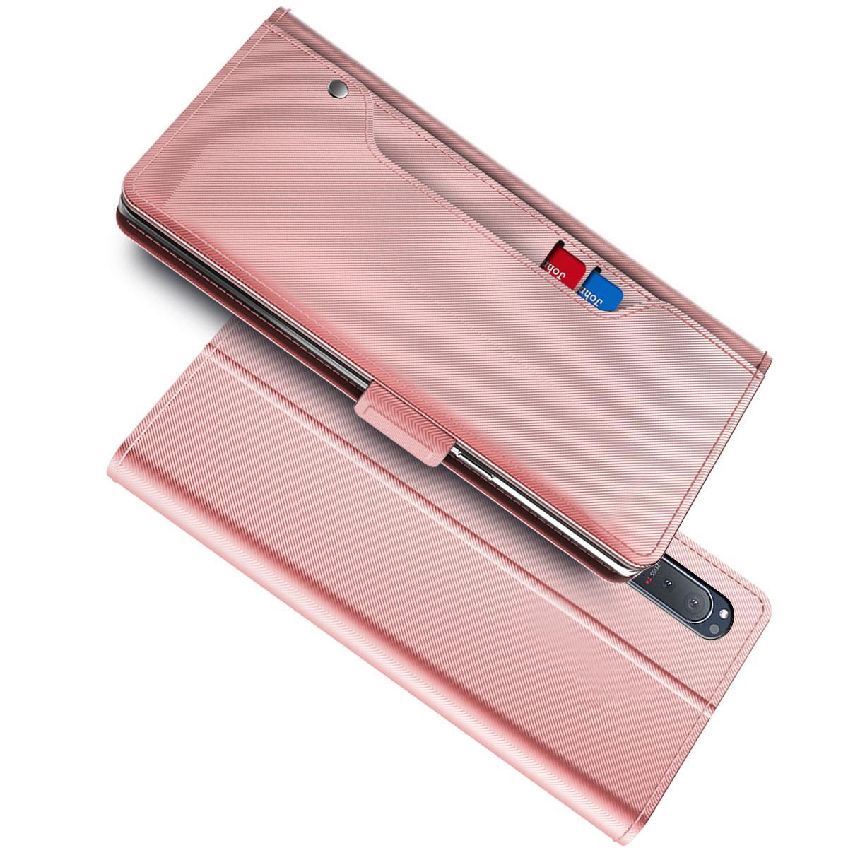 Plånboksfodral Spegel Sony Xperia 5 II Rosa Guld