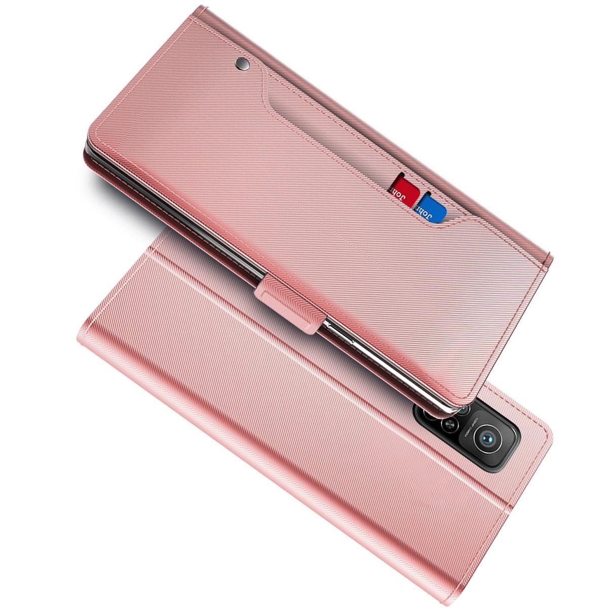 Plånboksfodral Spegel Xiaomi Mi 10T Pro 5G Rosa Guld