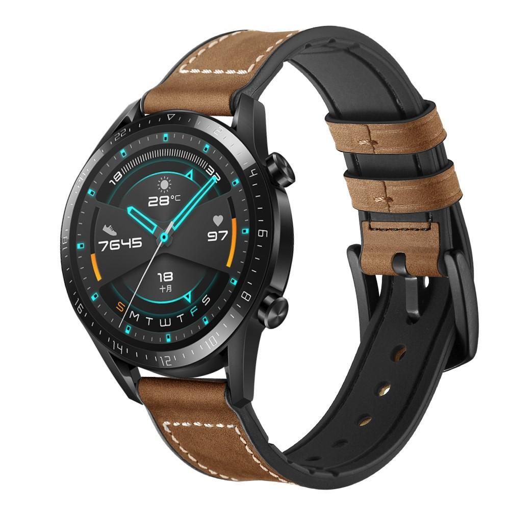 Premium Läderarmband Huawei Watch GT 2 Pro/GT 2 46mm/GT 2e brun