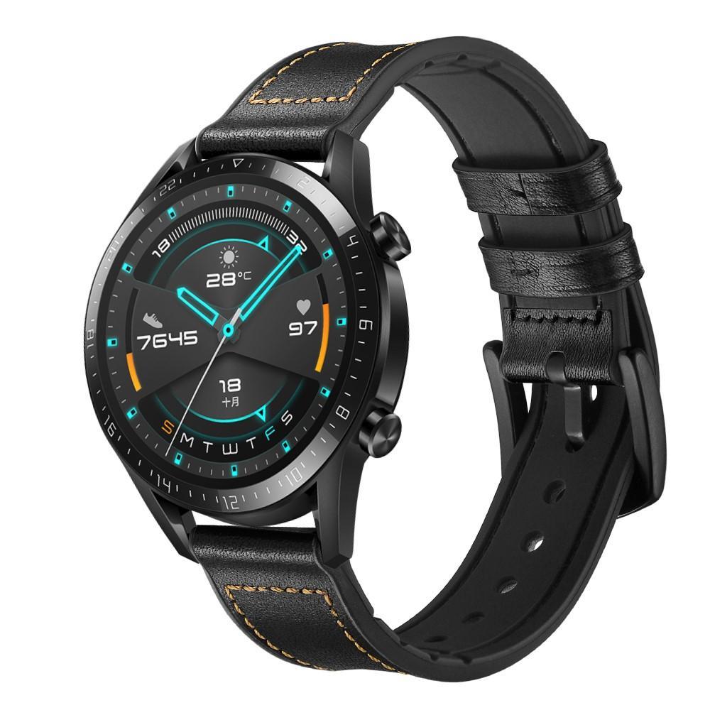 Premium Läderarmband Huawei Watch GT 2 Pro/GT 2 46mm/GT 2e svart