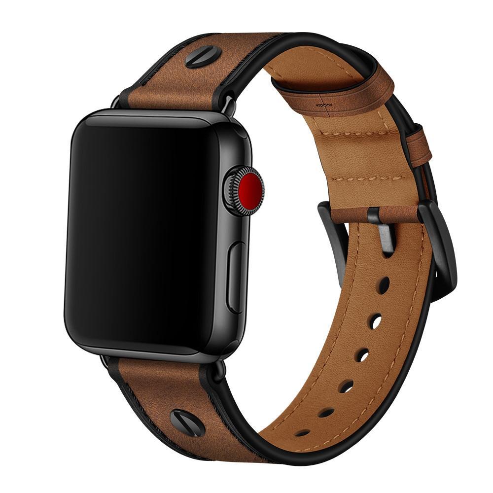 Premium Stud Armband Apple Watch 42/44 mm Brown