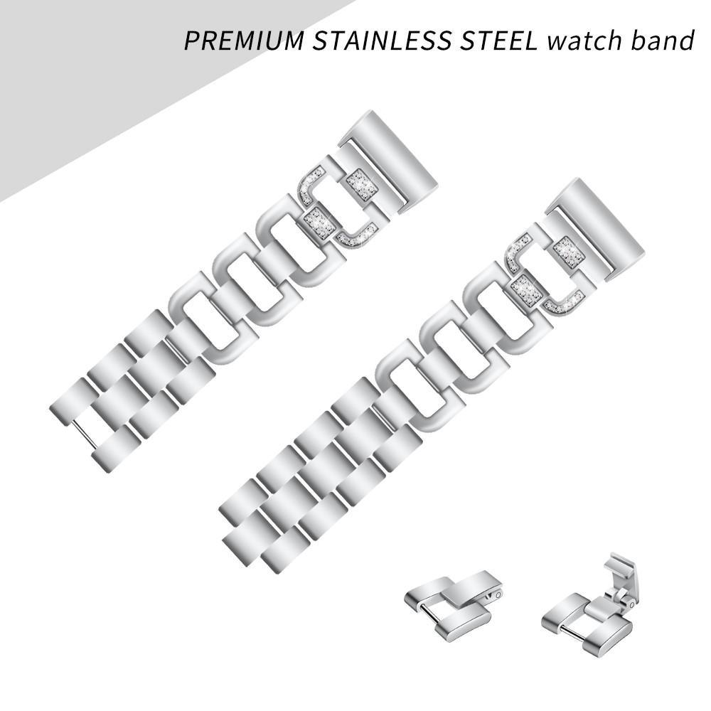 Rhinestone Bracelet Fitbit Charge 3/4 Silver